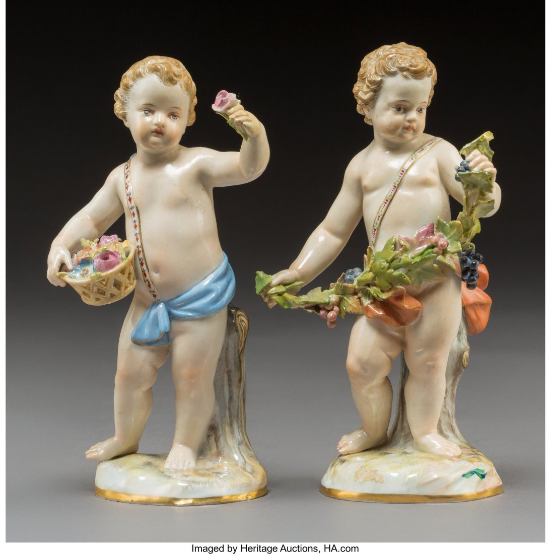 64200: A Pair of Meissen Polychromed and Gilt Porcelain