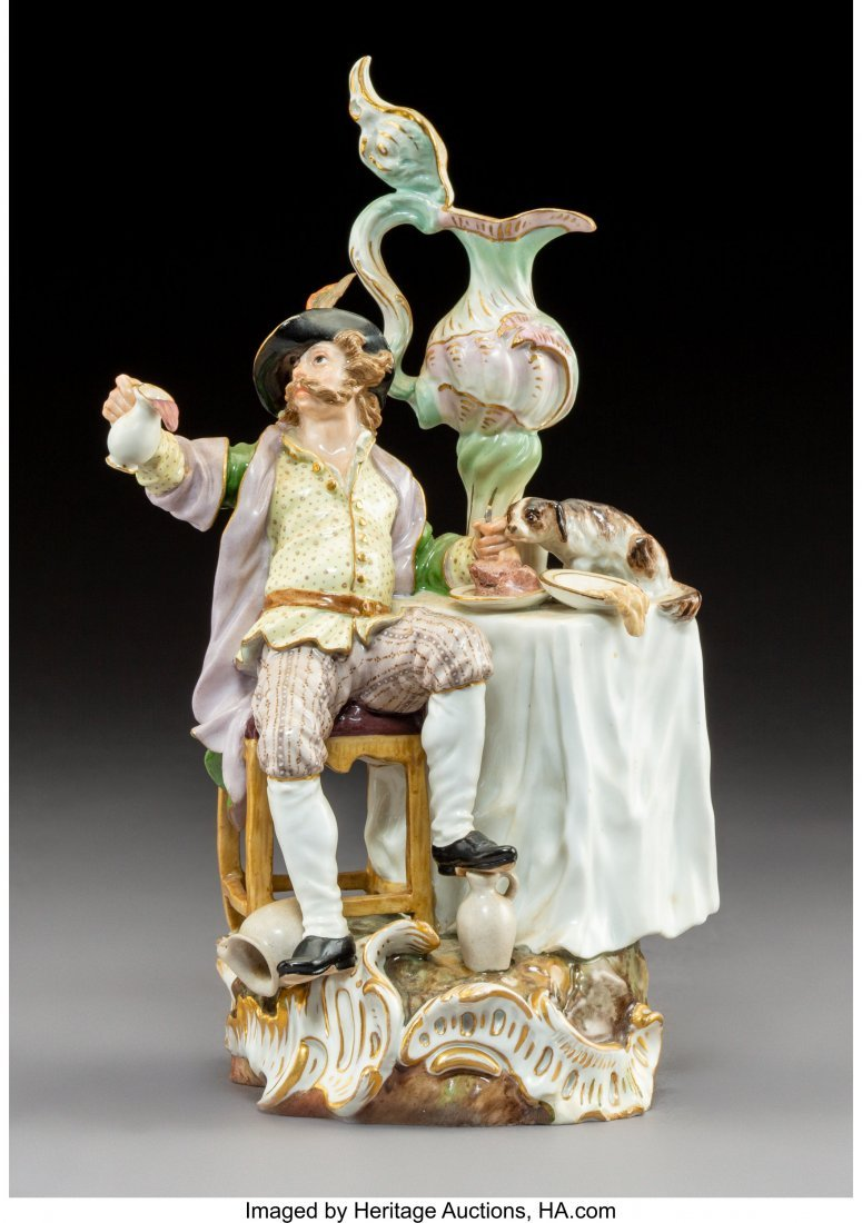 64206: A Meissen Polychromed and Gilt Porcelain Figural