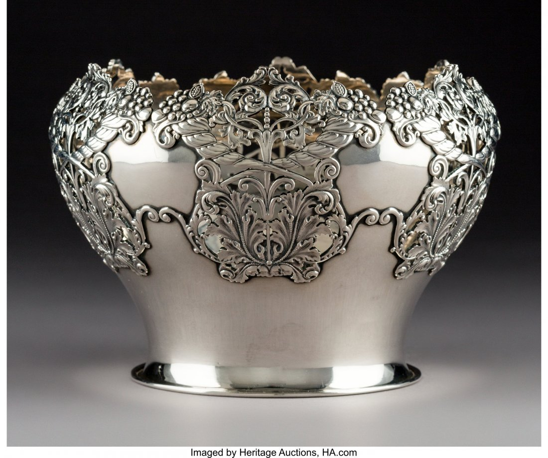 64287: An American Silver Bowl with Reticulated Cornuco