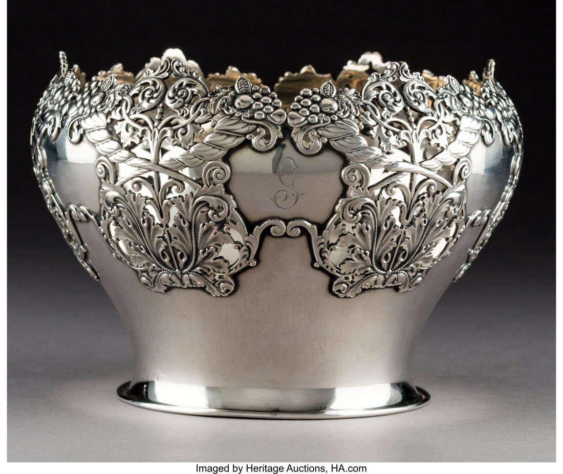 64287: An American Silver Bowl with Reticulated Cornuco - 2