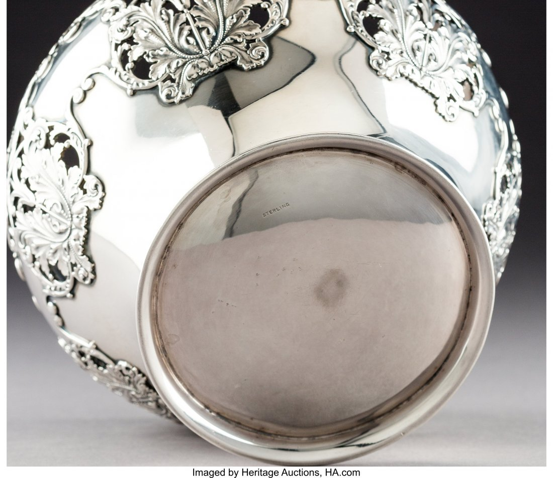 64287: An American Silver Bowl with Reticulated Cornuco - 3