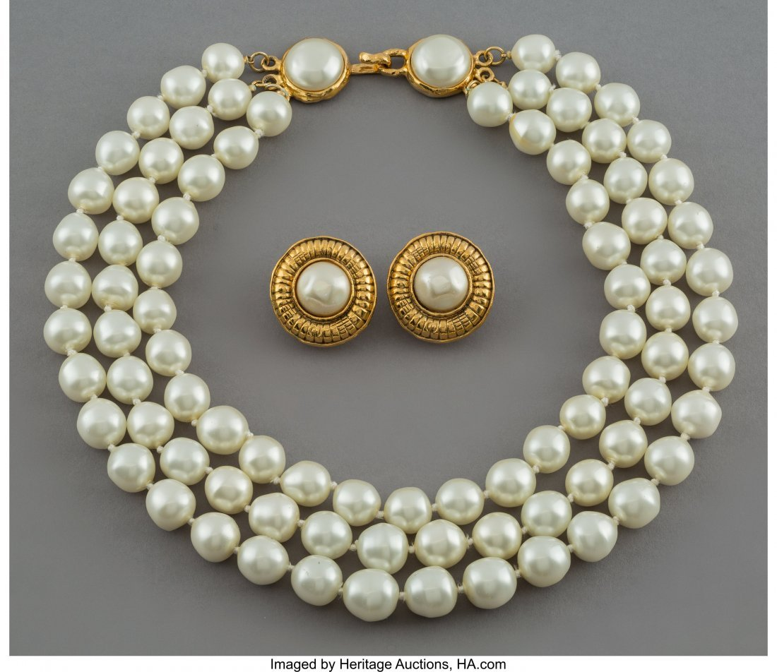 64290: A Three-Piece Chanel Gold-Tone and Faux Pearl Je