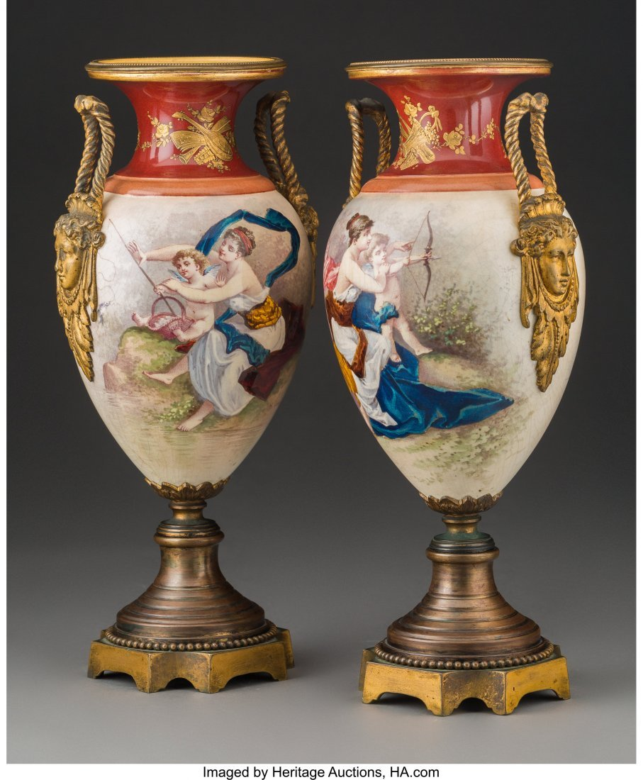 64211: A Pair of Royal Vienna-Style Enameled Porcelain