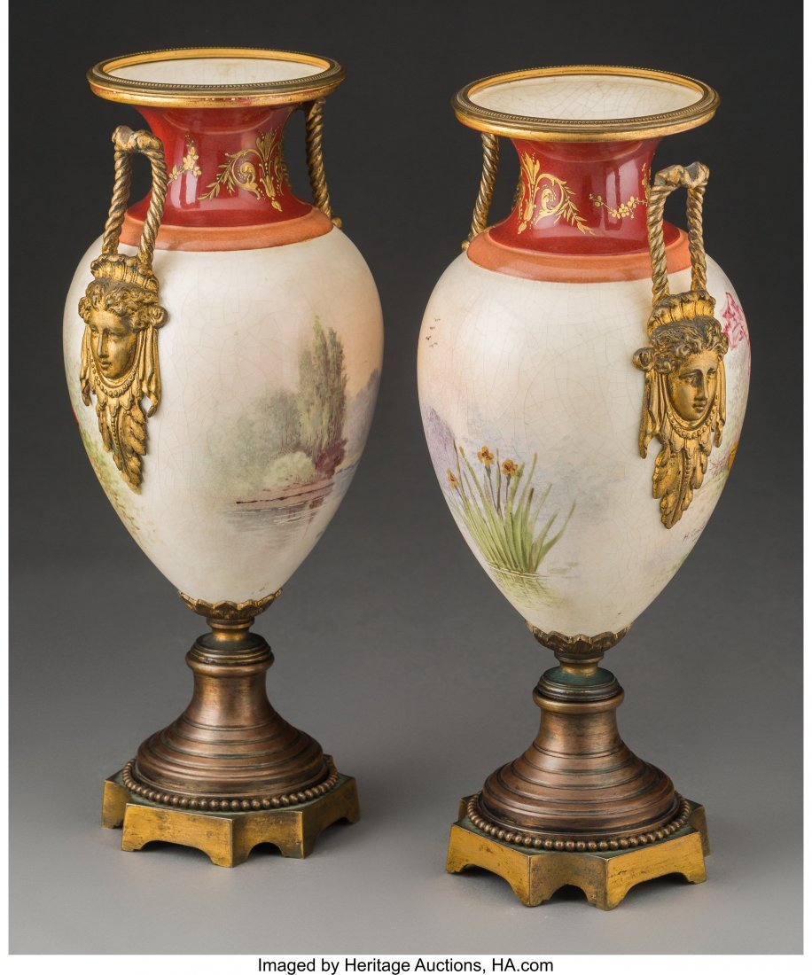 64211: A Pair of Royal Vienna-Style Enameled Porcelain  - 2
