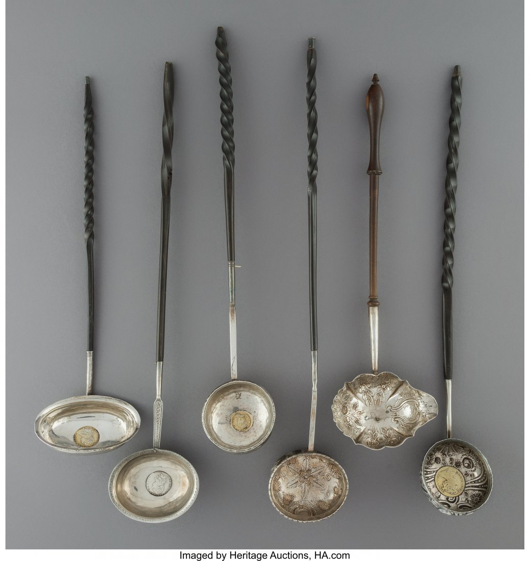 64224: Six English Wood and Silver Toddy Ladles, 18th c