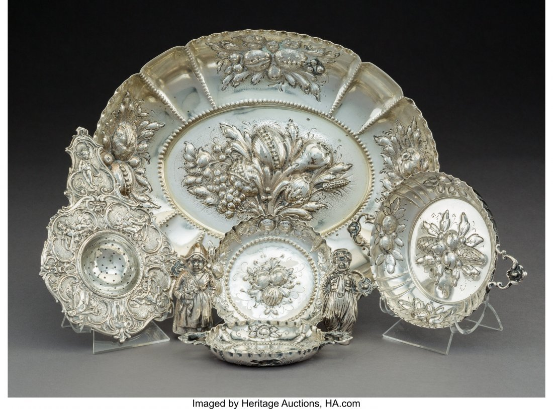 64307: A Group of Seven German Silver Tablewares Marks: