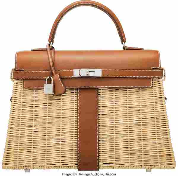 58185: Hermes Limited Edition 35cm Fauve Barenia Leathe