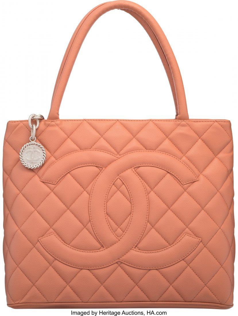58007: Chanel Rose Quilted Caviar Leather Medallion Tot