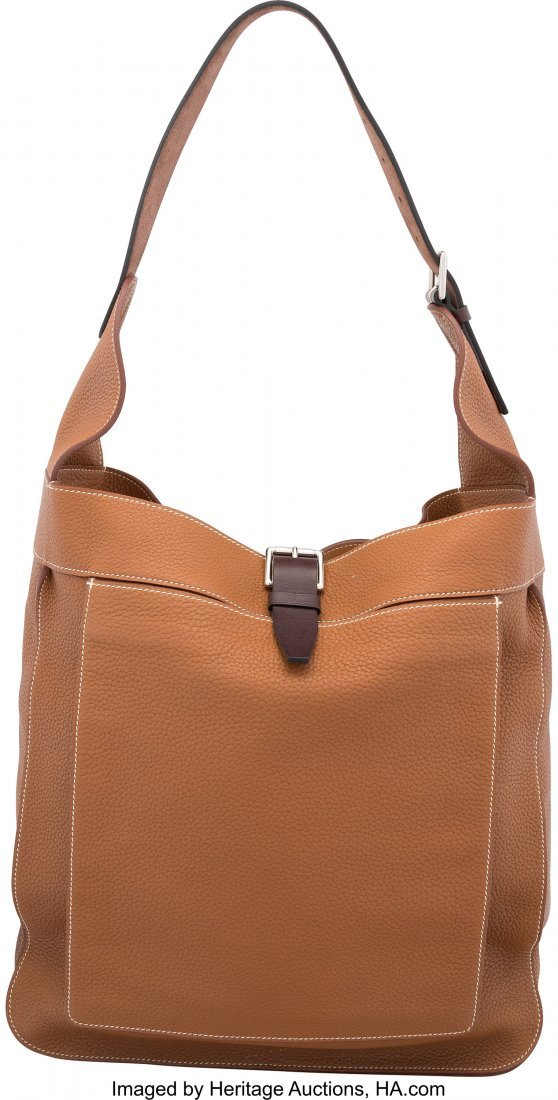 58189: Hermes Gold Clemence Leather Marwari GM Bag with