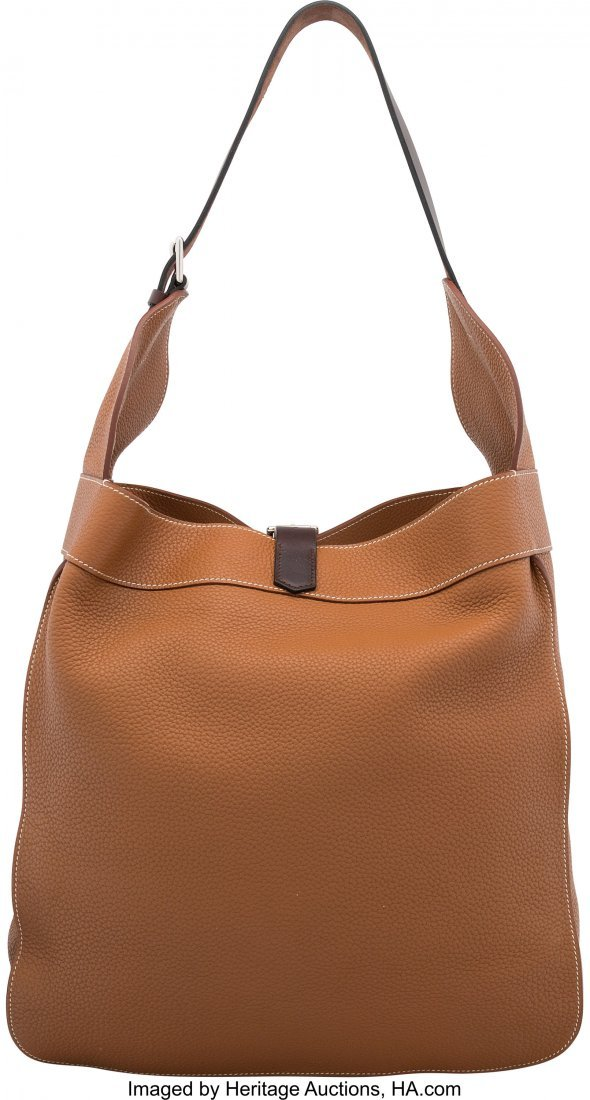 58189: Hermes Gold Clemence Leather Marwari GM Bag with - 2