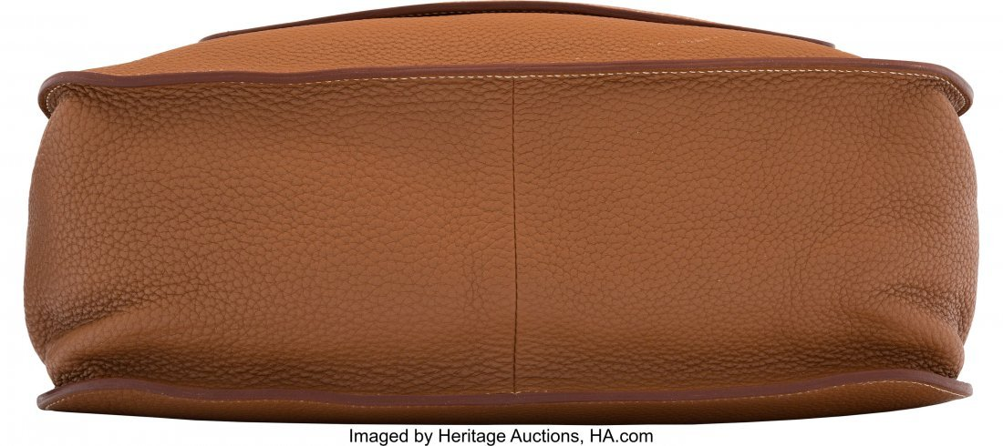 58189: Hermes Gold Clemence Leather Marwari GM Bag with - 3