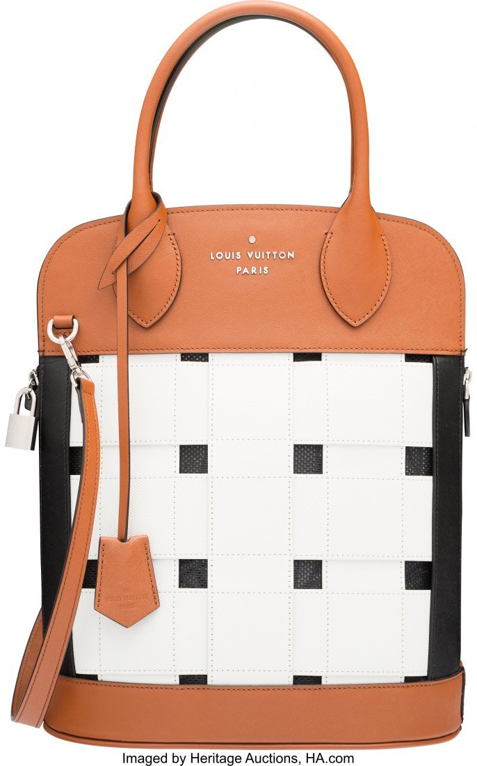 58099: Louis Vuitton White, Brown, & Black Leather Tres