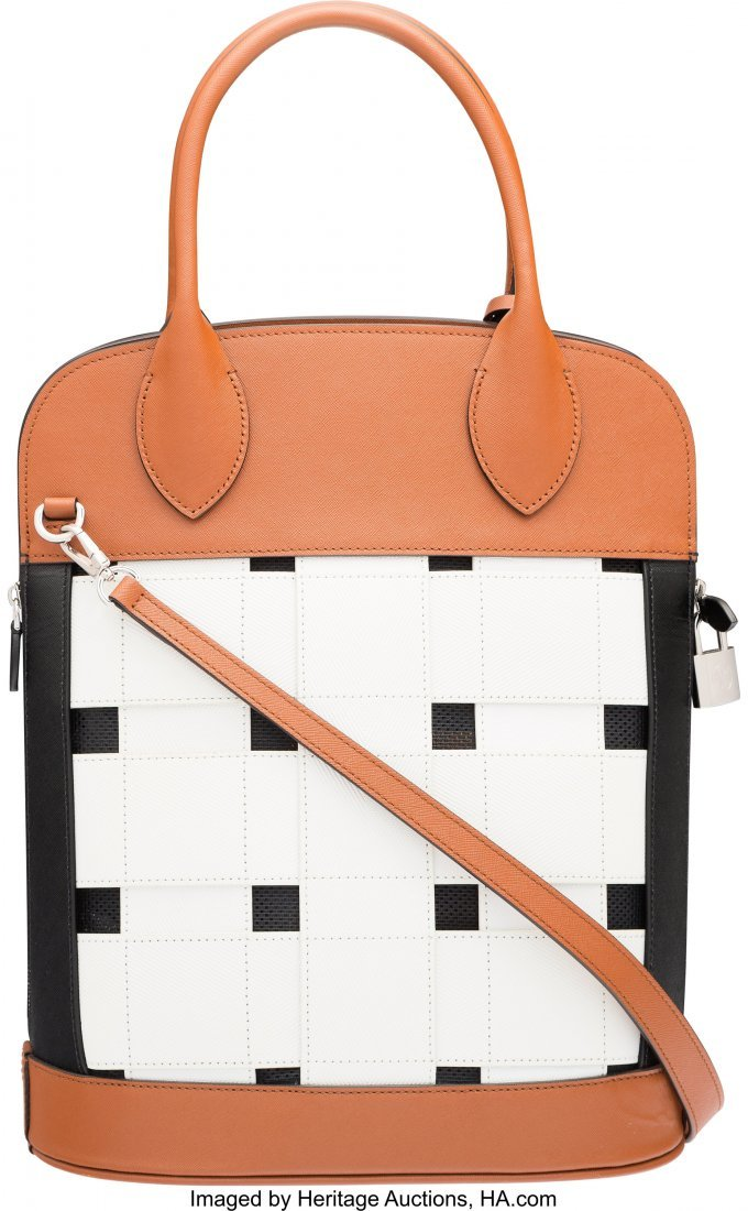 58099: Louis Vuitton White, Brown, & Black Leather Tres - 2
