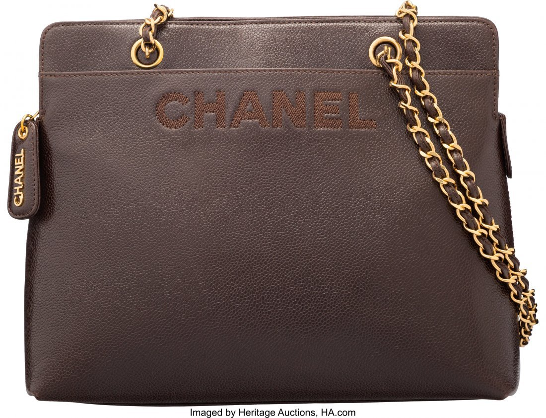 58023: Chanel Brown Caviar Leather Zippered Tote Bag Co