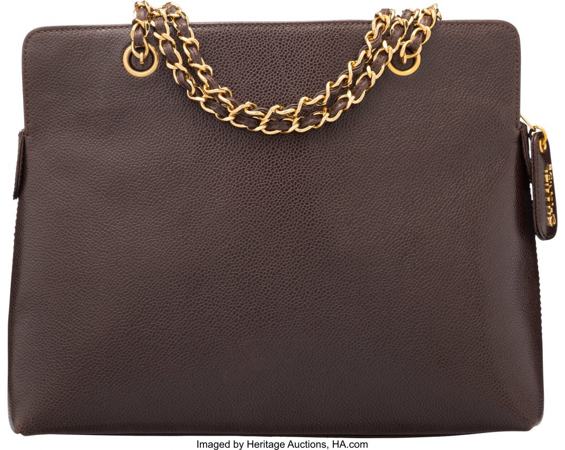 58023: Chanel Brown Caviar Leather Zippered Tote Bag Co - 2