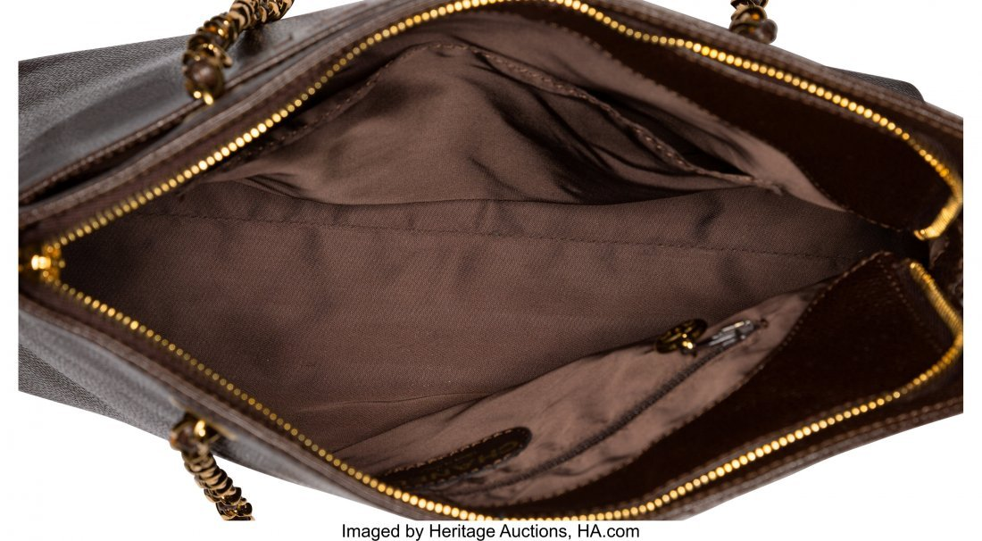 58023: Chanel Brown Caviar Leather Zippered Tote Bag Co - 4