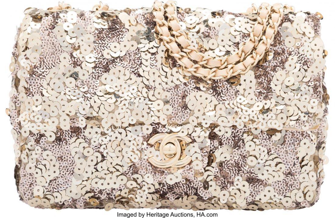 58029: Chanel Light Gold Sequin Small Classic Single Fl