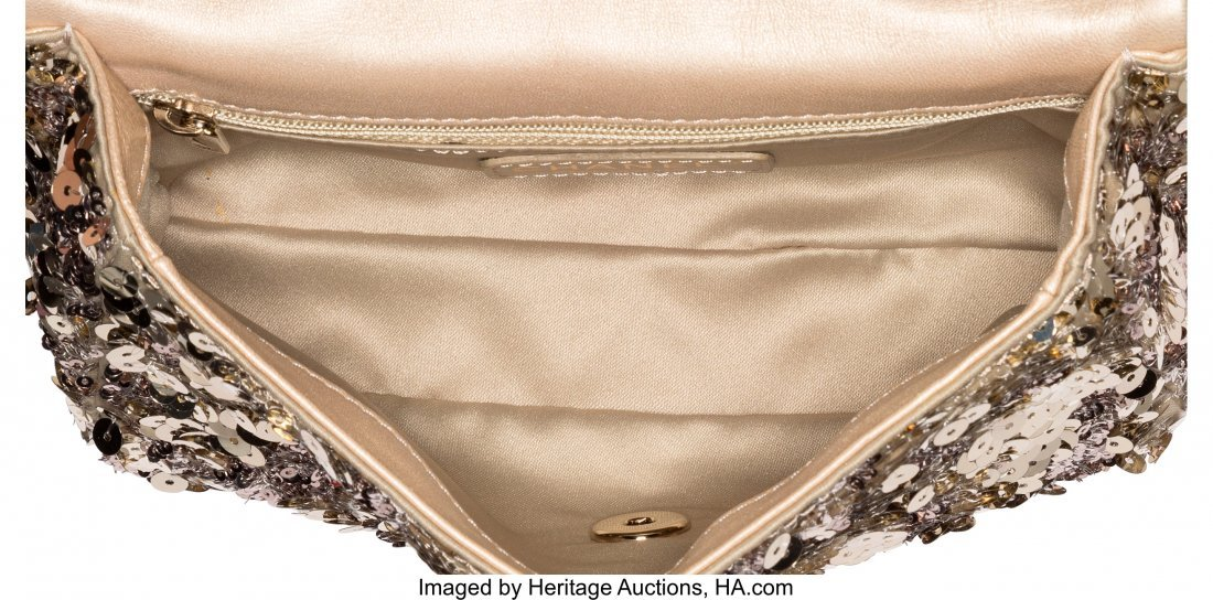 58029: Chanel Light Gold Sequin Small Classic Single Fl - 4