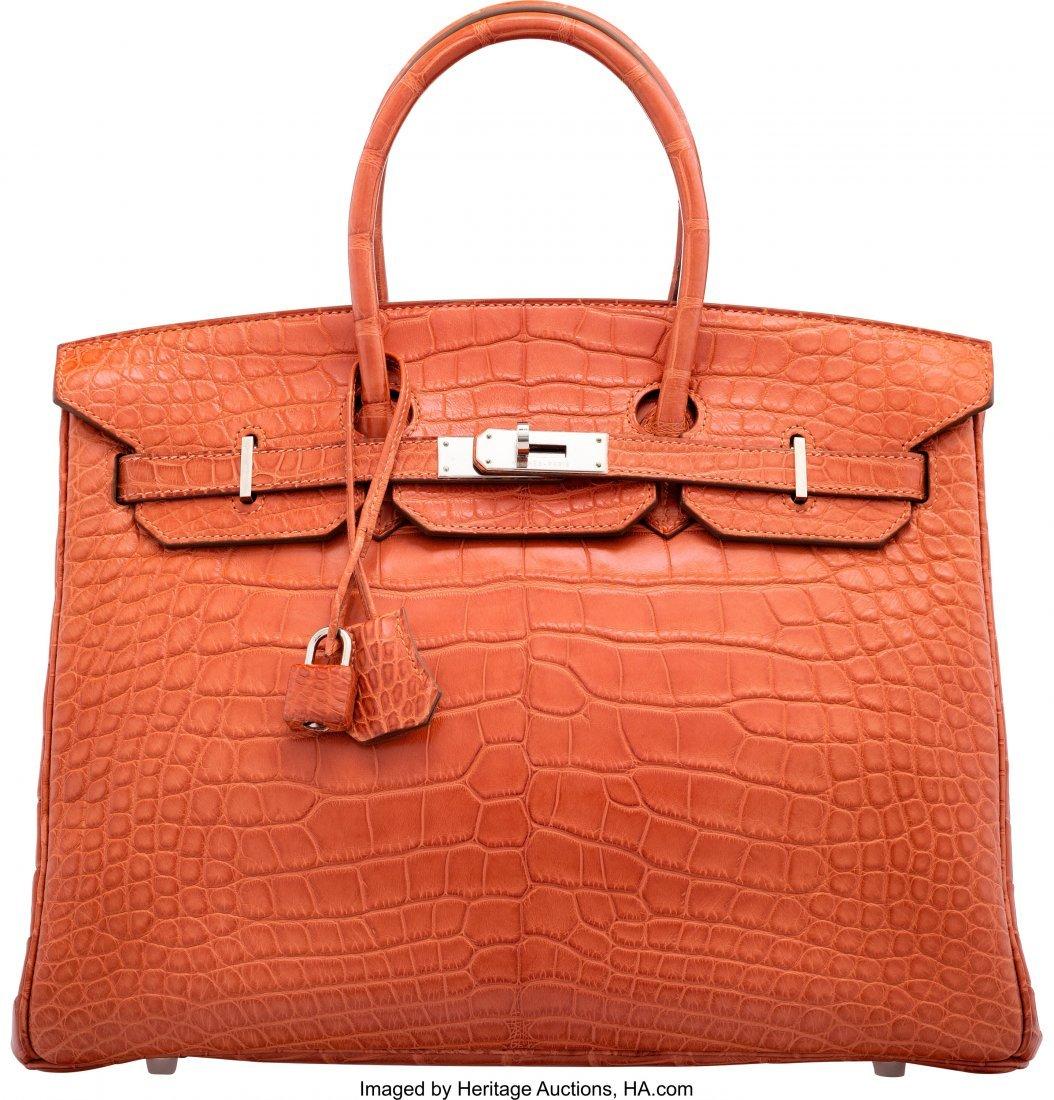 58202: Hermes 35cm Sanguine Alligator Birkin Bag with P