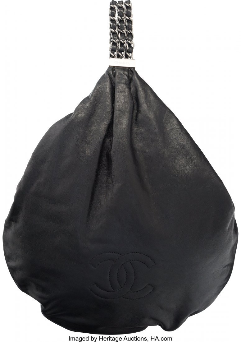 58054: Chanel Black Aged Calfskin Leather Hobo Bag with
