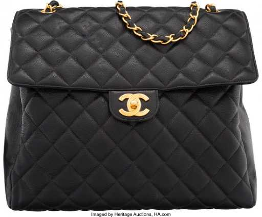 16744bc6098b5f 58056: Chanel Black Quilted Caviar Leather Maxi Flap Ba