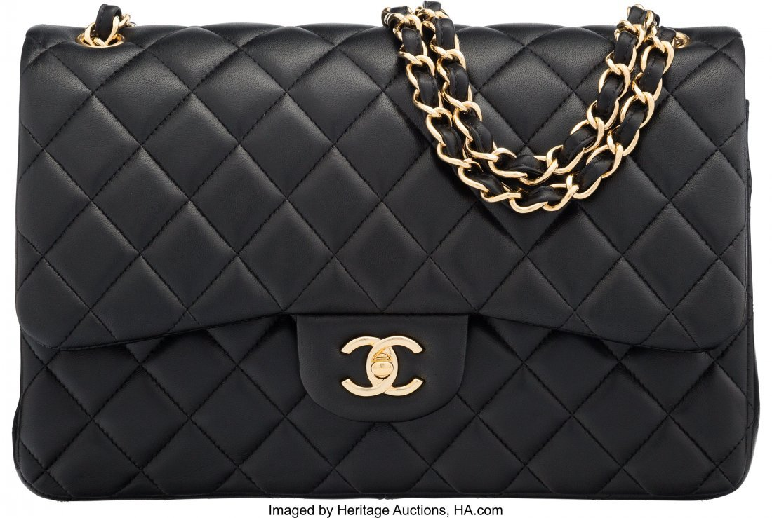 58058: Chanel Black Quilted Lambskin Leather Jumbo Clas