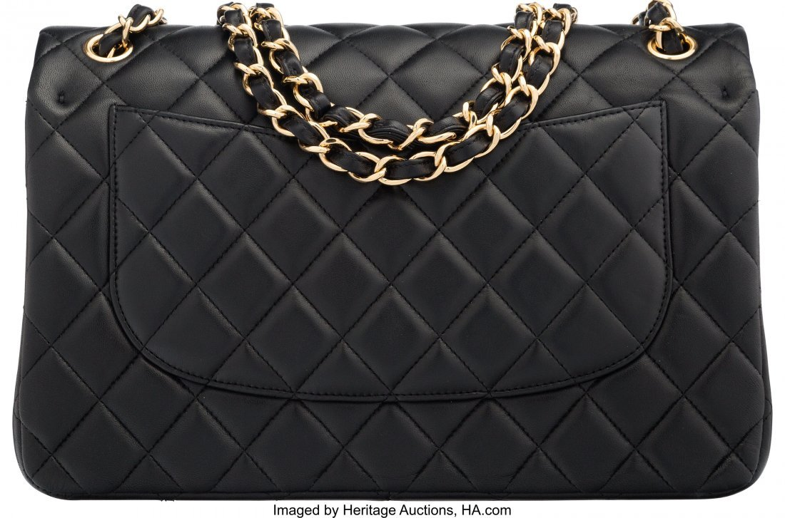 58058: Chanel Black Quilted Lambskin Leather Jumbo Clas - 2