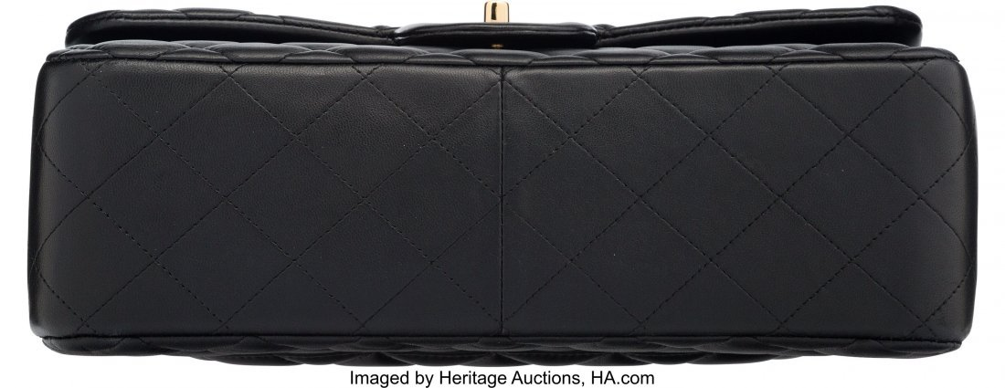 58058: Chanel Black Quilted Lambskin Leather Jumbo Clas - 3