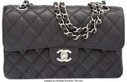 58065: Chanel Black Quilted Caviar Leather Small Double
