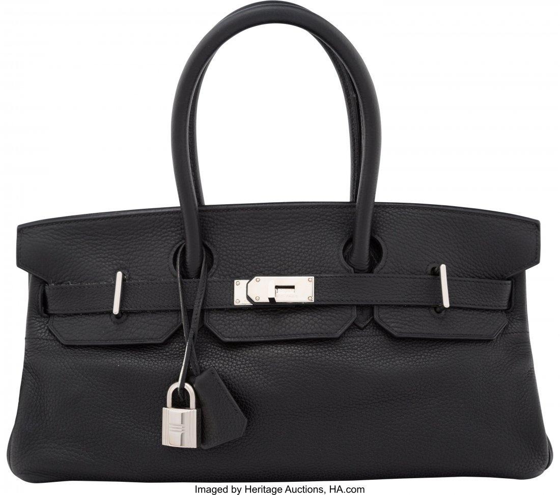 58148: Hermes 42cm Black Clemence Leather JPG Birkin Ba
