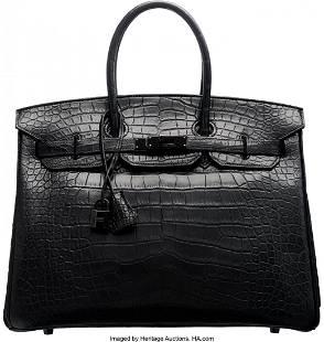 58155: Hermes Limited Edition 35cm So Black Alligator B