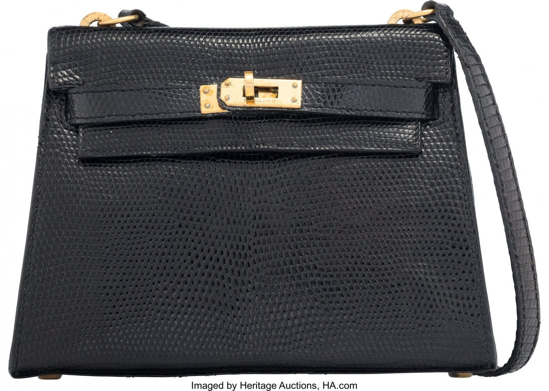 58162: Hermes 20cm Black Salvator Lizard Mini Sellier S