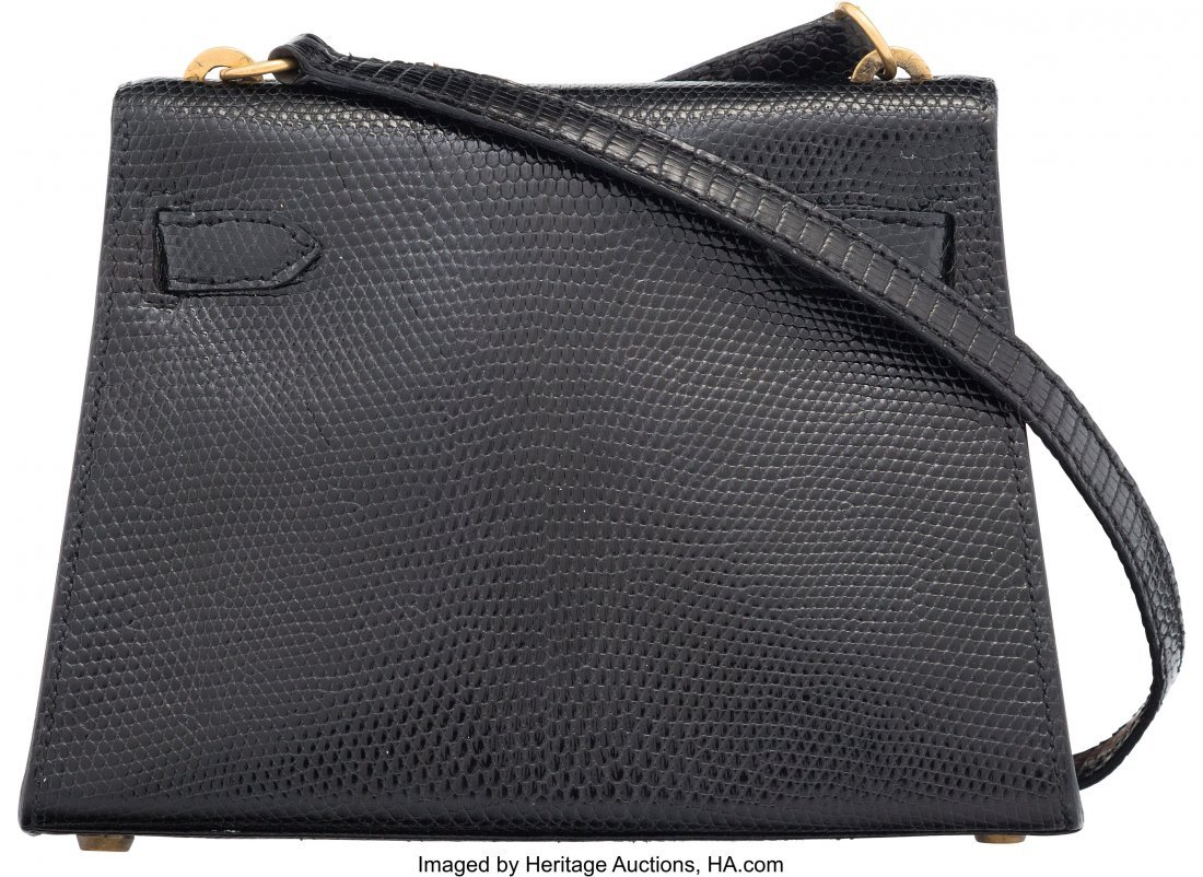 58162: Hermes 20cm Black Salvator Lizard Mini Sellier S - 2