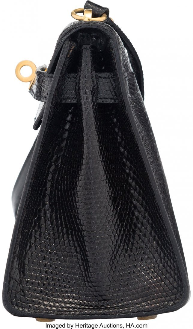 58162: Hermes 20cm Black Salvator Lizard Mini Sellier S - 3