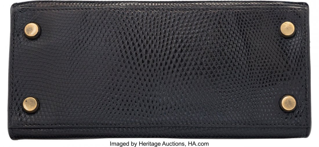 58162: Hermes 20cm Black Salvator Lizard Mini Sellier S - 4