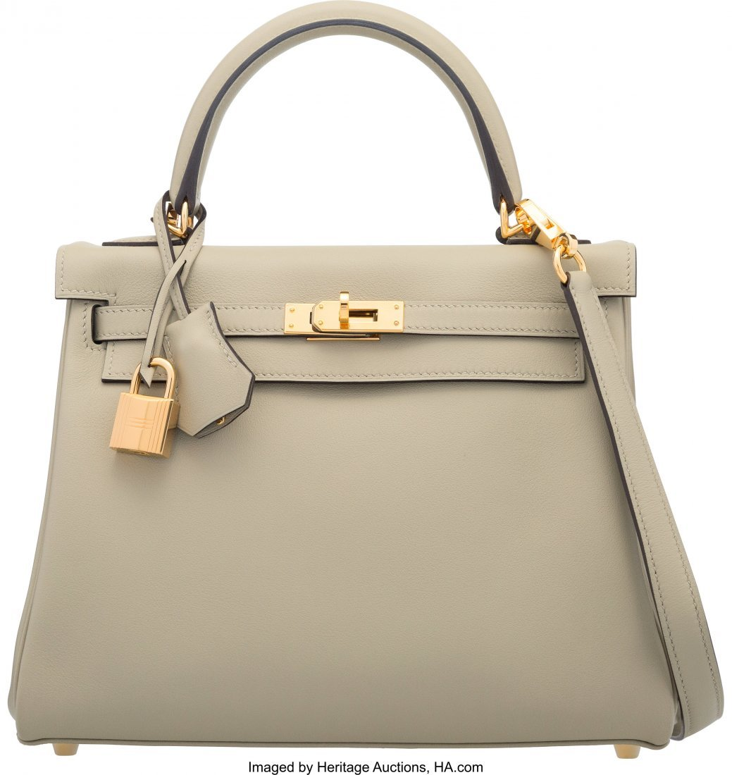 58269: Hermes 25cm Sage Swift Leather Retourne Kelly Ba