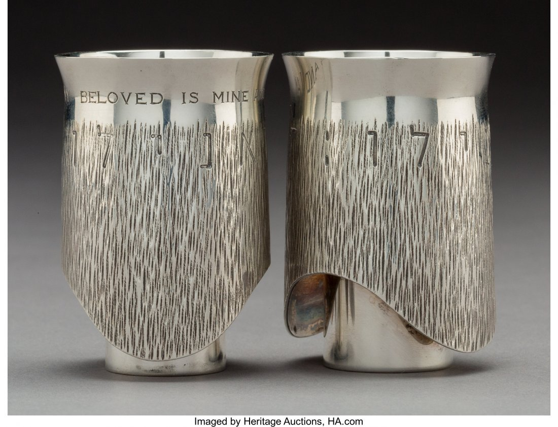 74098: A Moshe Zabari Silver Double Marriage Cup, desig