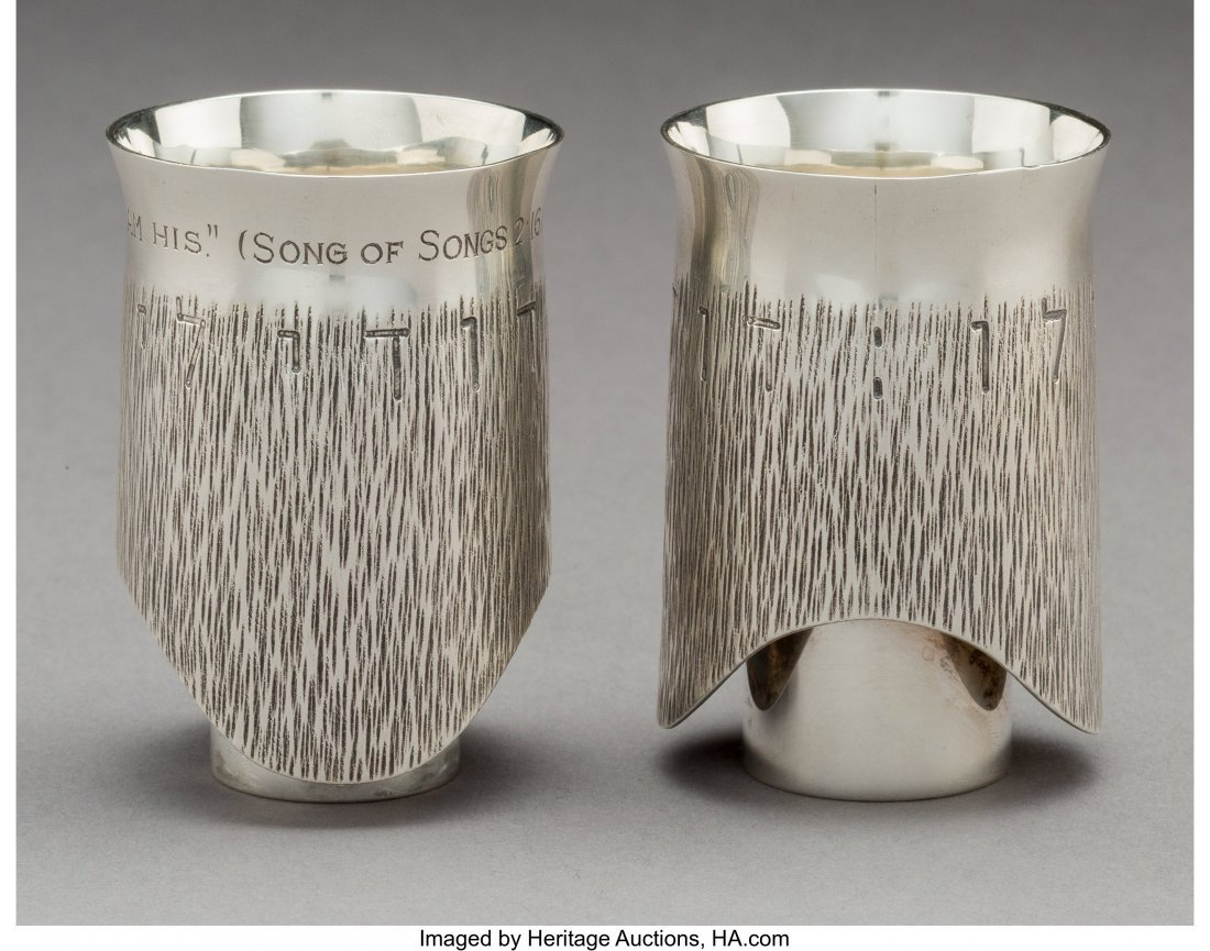 74098: A Moshe Zabari Silver Double Marriage Cup, desig - 2