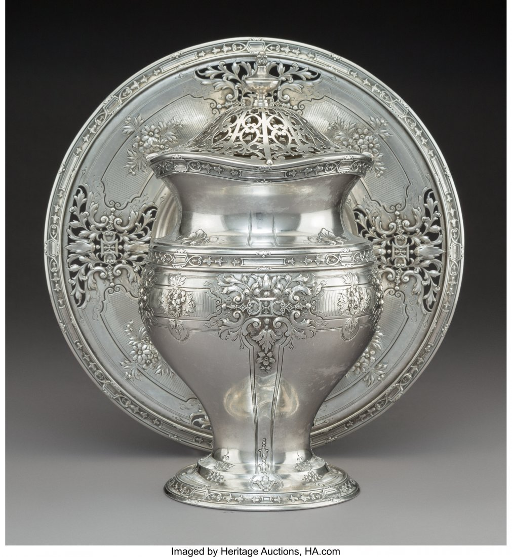74198: A Grogan Company Silver Covered Vase and Stand,