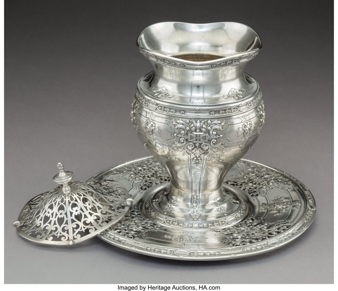 74198: A Grogan Company Silver Covered Vase and Stand,  - 2
