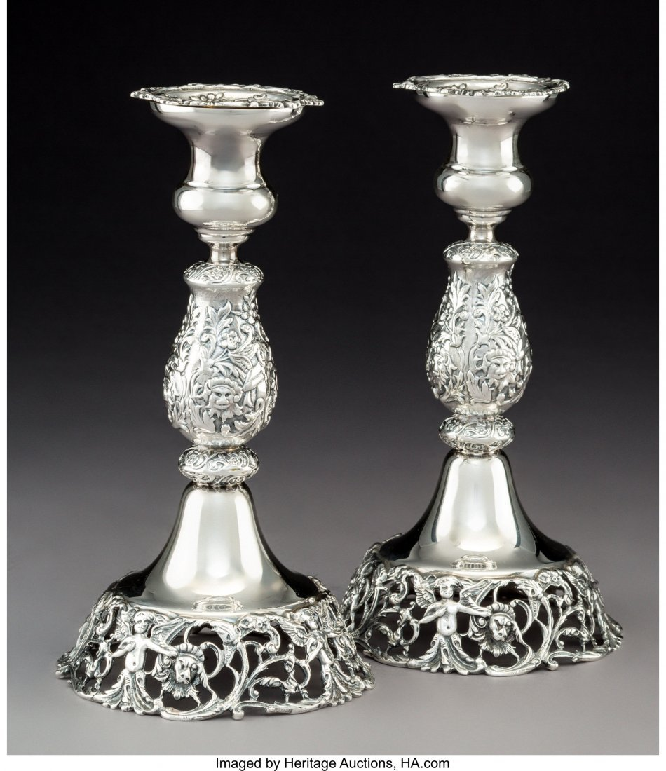 74204: A Pair of Durham Silver Co. Silver Candlesticks,