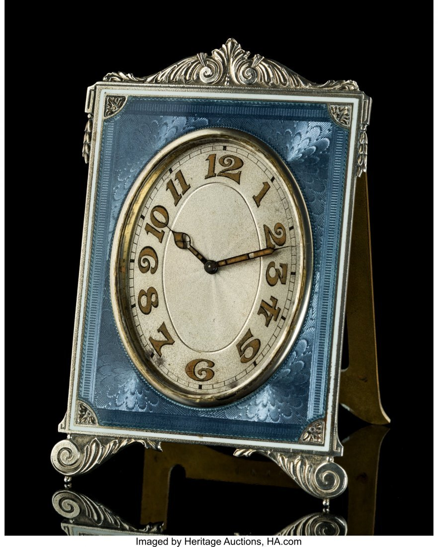 74318: A French Guilloché Enameled Silver Easel-Back D