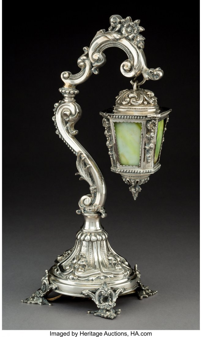 74119: A Portuguese Silver and Slag Glass Lantern-Form