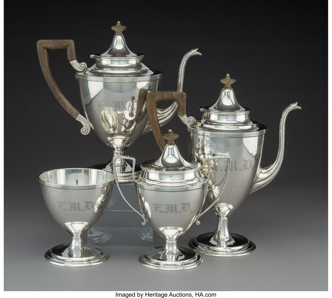 74222: A Four-Piece Dominick & Haff Silver Tea and Coff