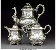 A Three-Piece American Coin Silver Tea Set with