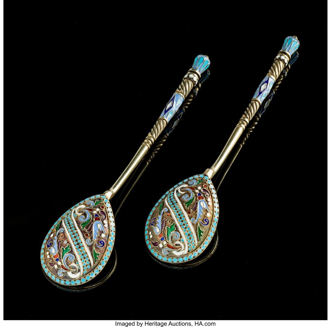74328: A Pair of Russian Silver Gilt and Cloisonné Ena