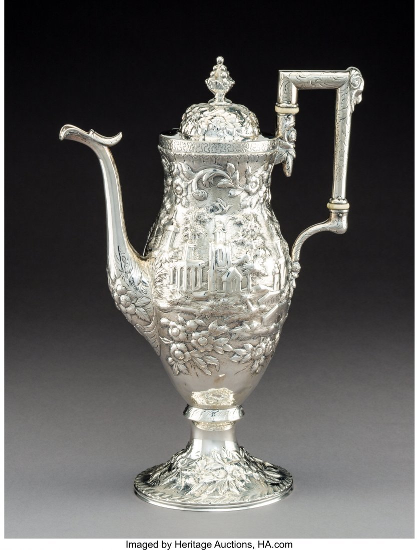 74134: An S. Kirk & Son Coin Silver Coffee Pot with Rep