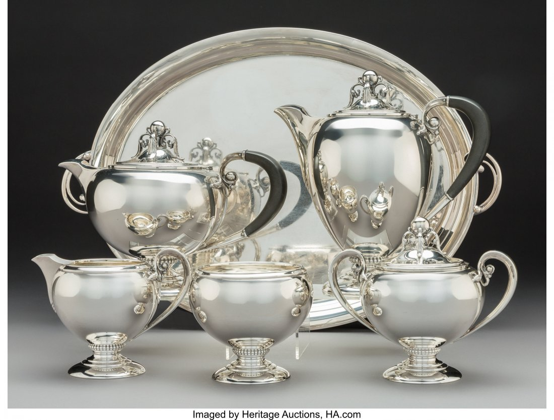 74236: A Five-Piece M. Fred Hirsch Silver Tea & Coffee