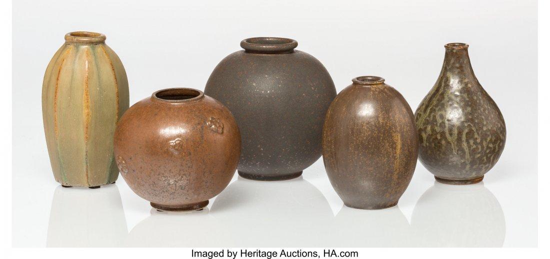 79165: Arne Bang (Danish, 1901-1983) Five Vases Glazed