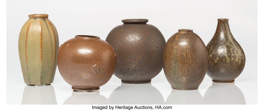 79165: Arne Bang (Danish, 1901-1983) Five Vases Glazed  - 2